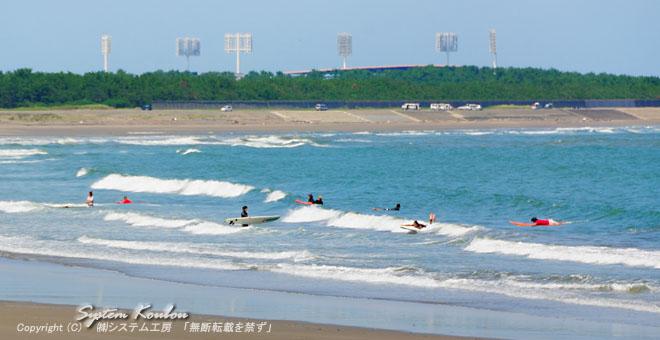 ◆ 青島海水浴場の東でサーフィンを楽しむ人達 ◆ 青島亜熱帯植物園(無料) ※開園時間 9:00